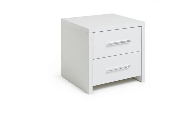 Argos Home Broadway 2Drw Bedside Table -White Gloss &White
