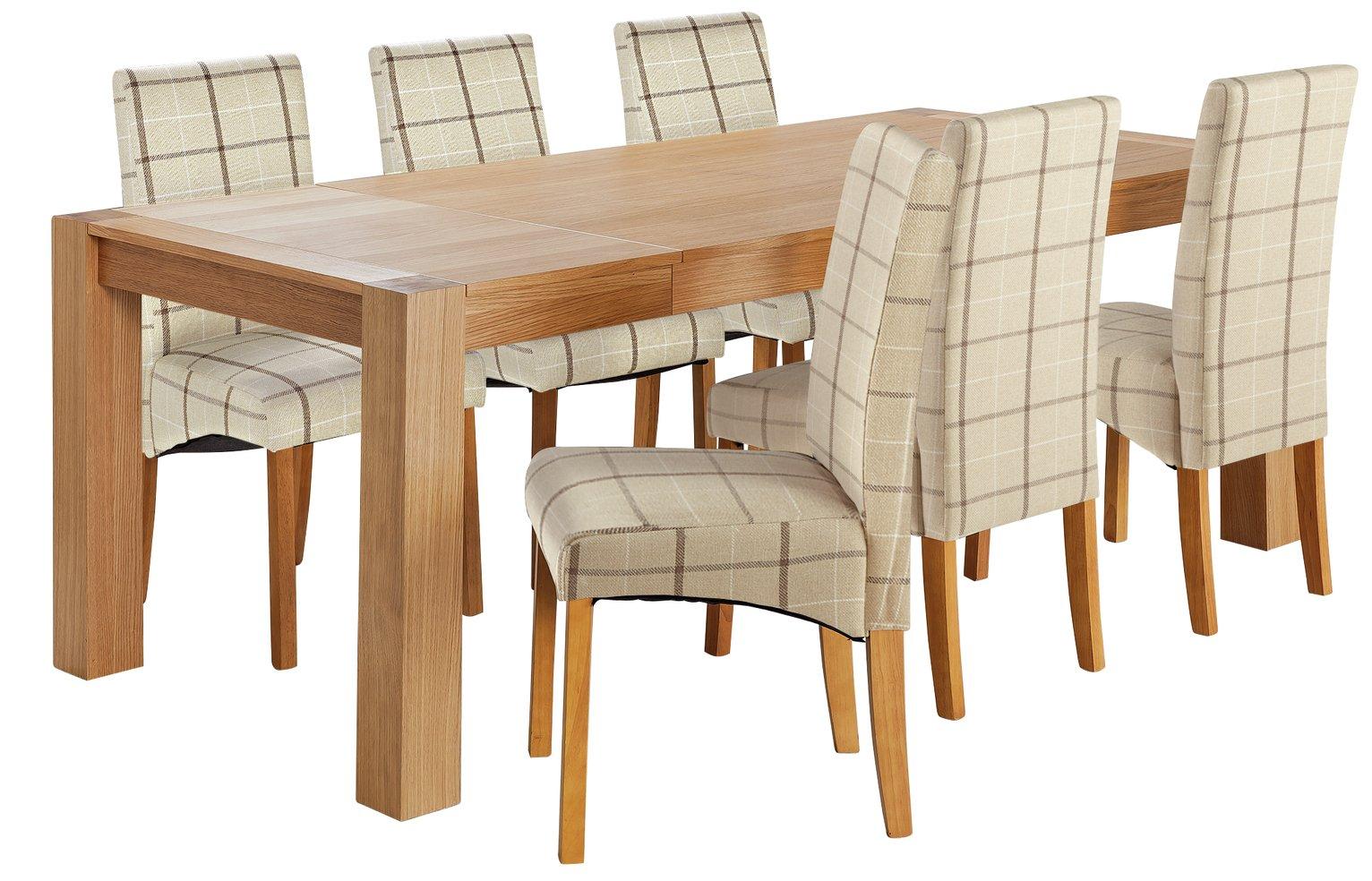 Heart of House Alston Extendable Table & 6 Chairs -Cream Chk