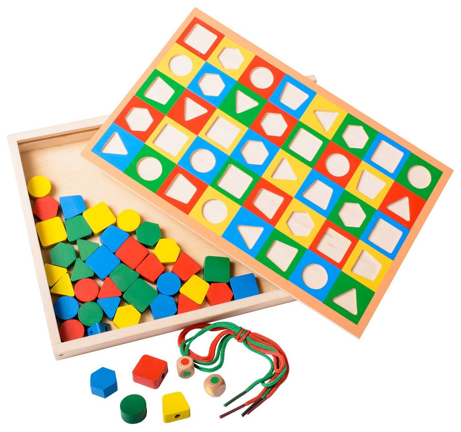 Image of EDUK8 Wooden Toy Lace and Place Set