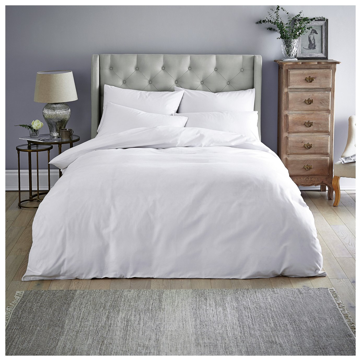 Sainsbury's Home White Sateen Stripe Bedding Set - Double