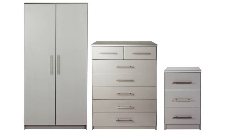 Argos Home Normandy 3 Piece 2 Door Wardrobe Set - Grey