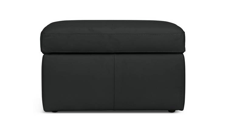 Habitat Gabe Leather Storage Footstool - Black