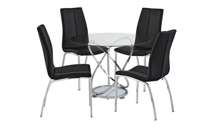 7fa7df7779 Buy Argos Home Atom Round Glass Table & 4 Chairs - Black | Dining ...