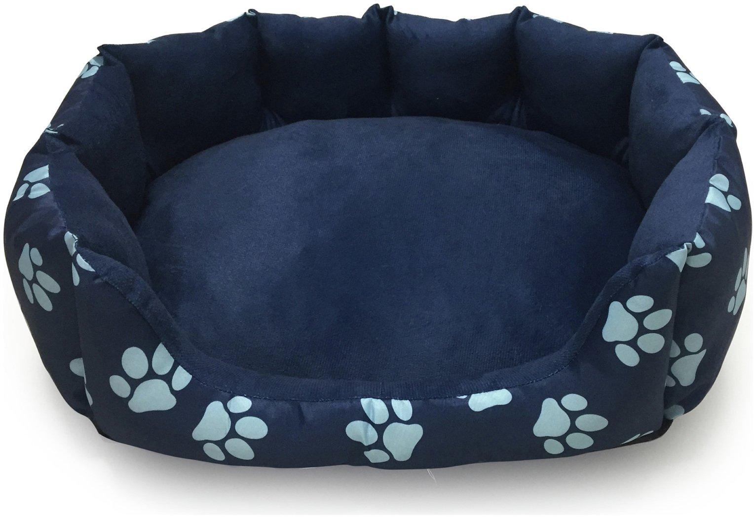 Paw Print Fleece Oval Navy Cushion - Medium