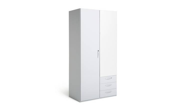 Argos Home Hallingford 2Dr 3Drw Mirrored Wardrobe - Grey