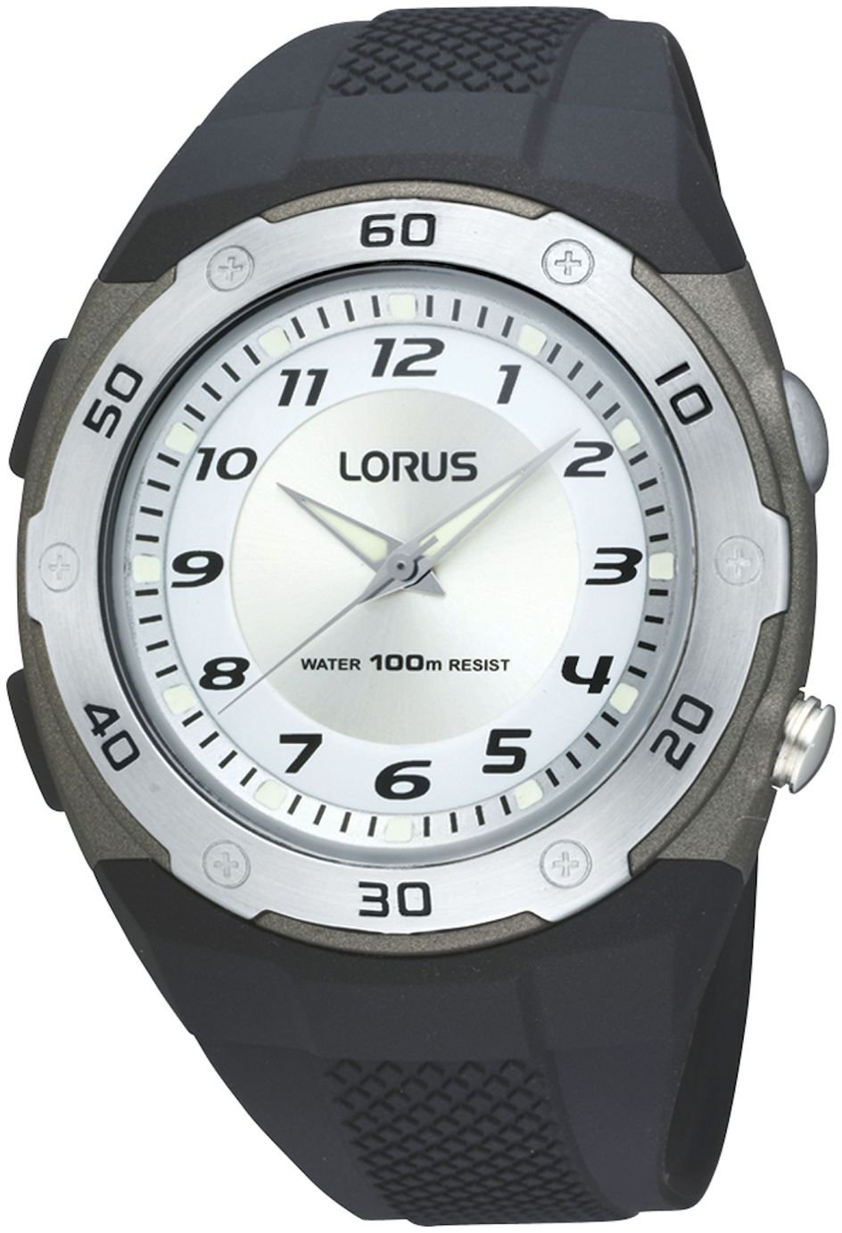 Lorus Men's Black Rubber Strap LED Side Light Watch