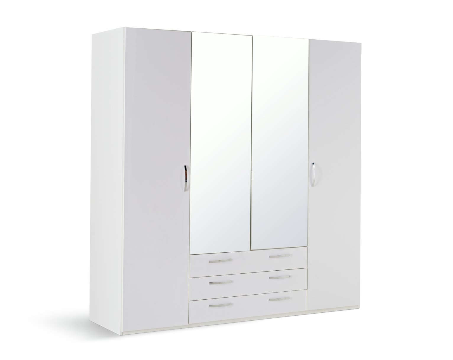 Argos Home Hallingford Gloss 4Dr 3Drw Mirror Wardrobe -White