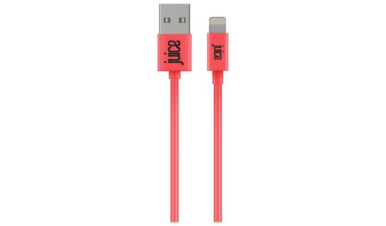 Juice USB to Lightning 2m Charging Cable - Coral