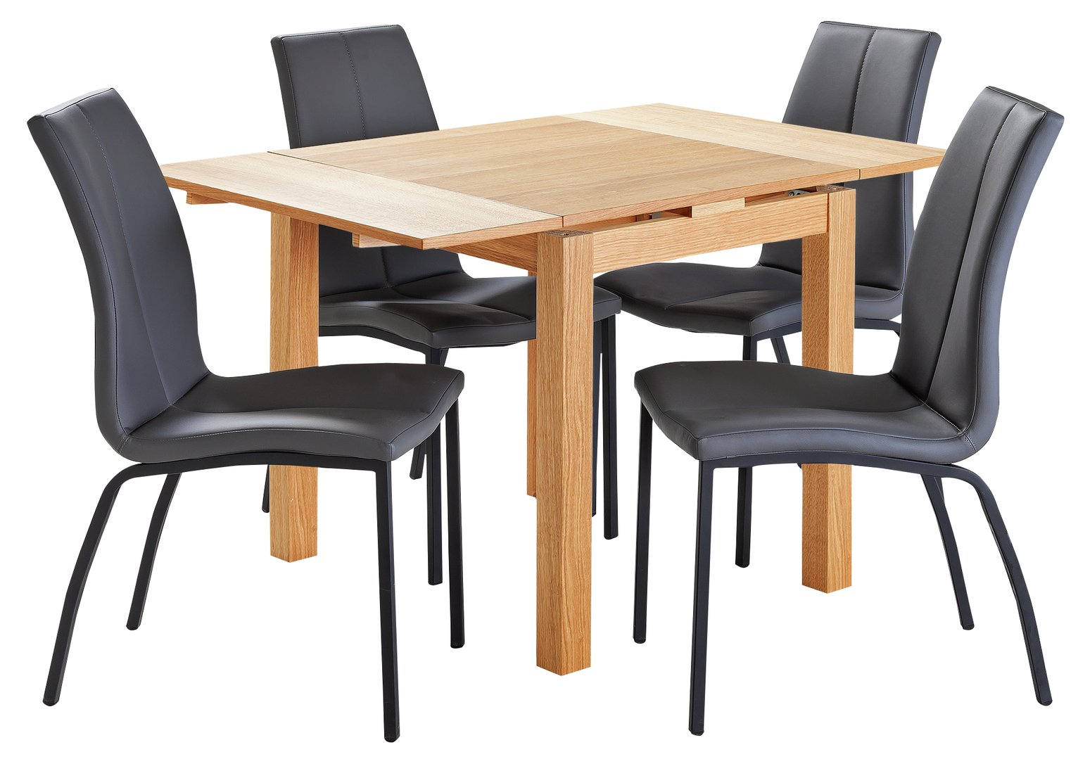 Collection Clifton Extendable Table & 4 Chairs - Charcoal