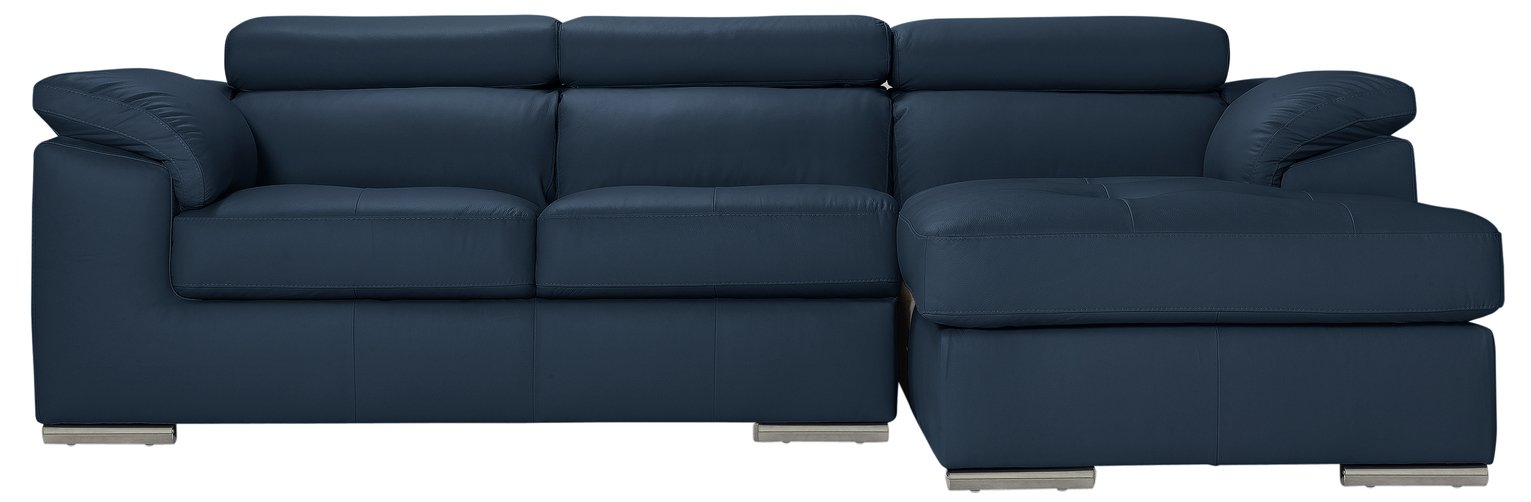 Argos Home Valencia Right Leather Corner Sofa - Blue