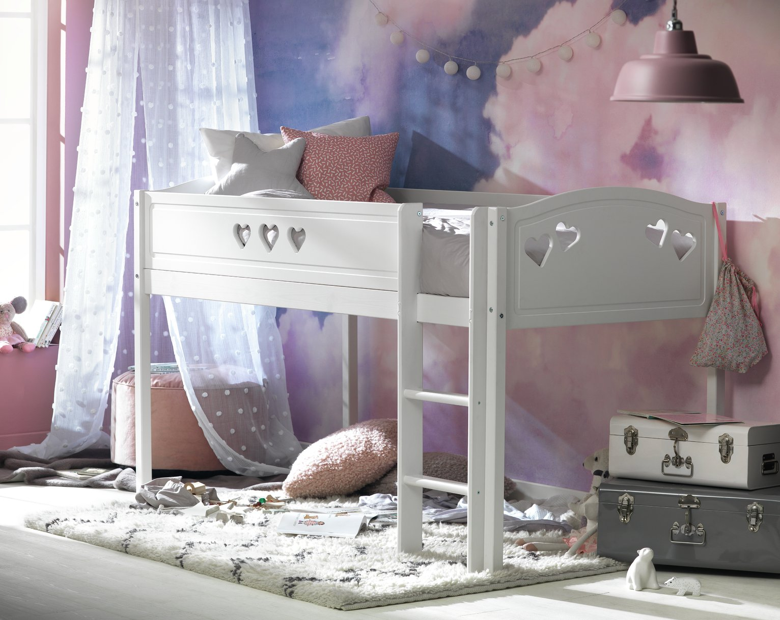 Image of Collection Mia Mid Sleeper Bed Frame - White