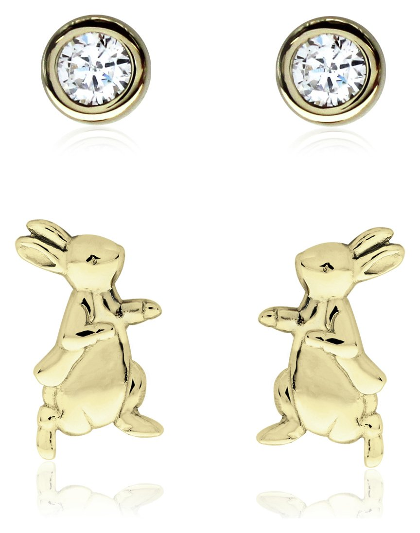 Beatrix Potter Gold Plated Peter Rabbit Earrings - Set of 2