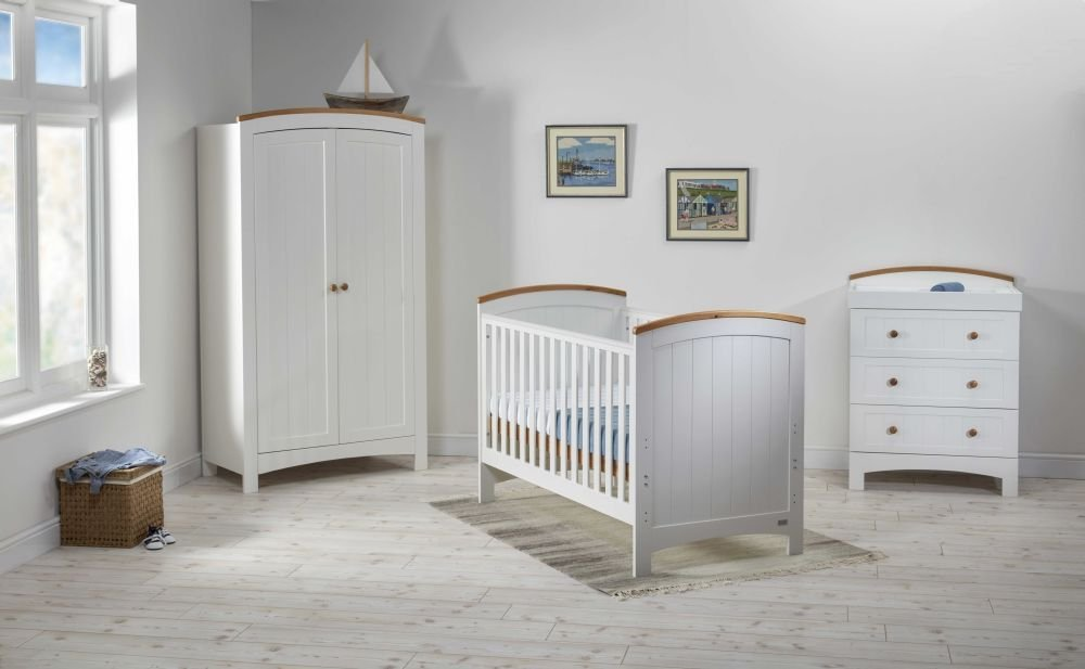 Image of Coast Cot Bed, Dresser & Wardrobe Nursery Furniture Set
