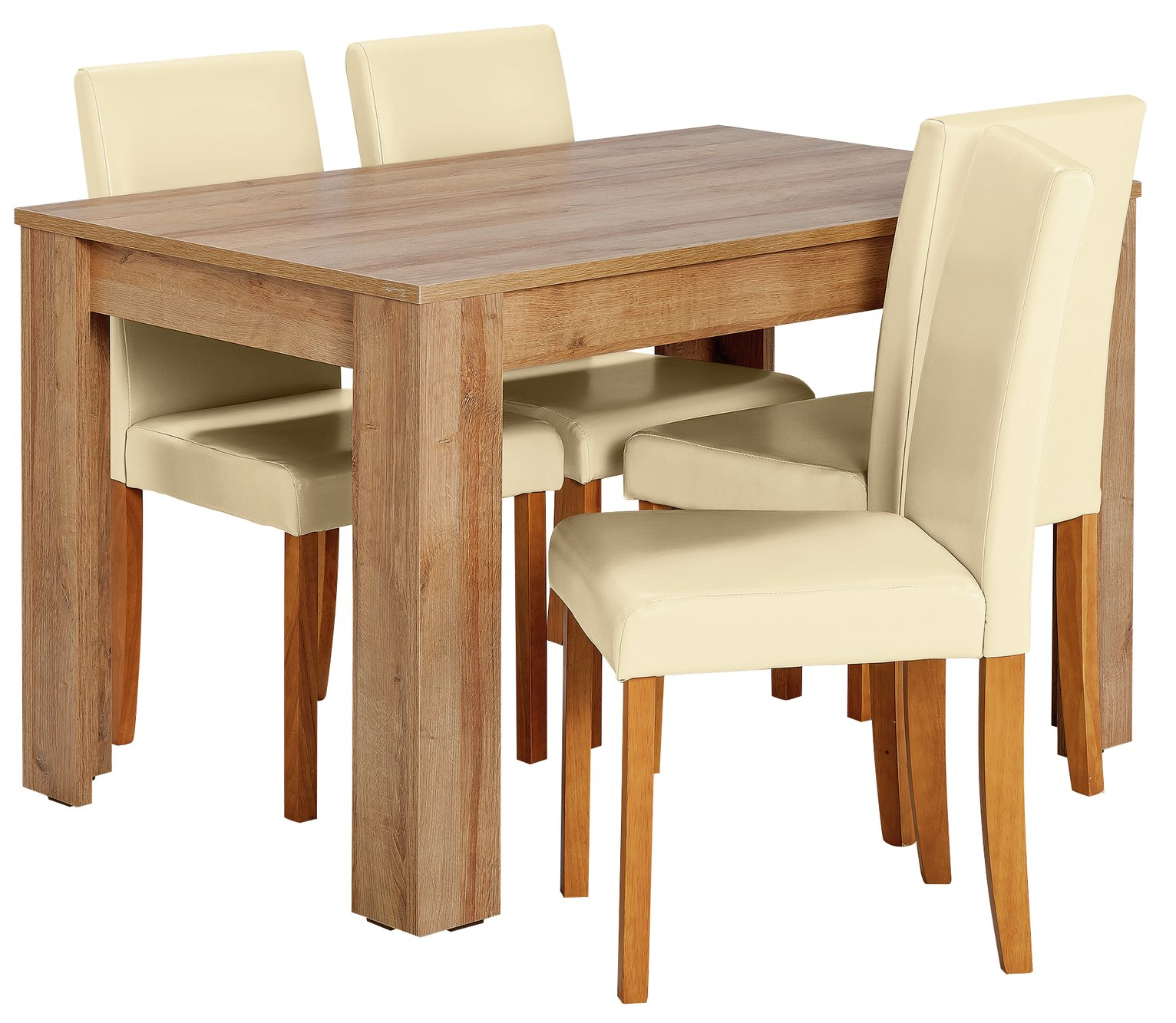 Image of HOME Miami Dining Table & 4 Chairs - Cream