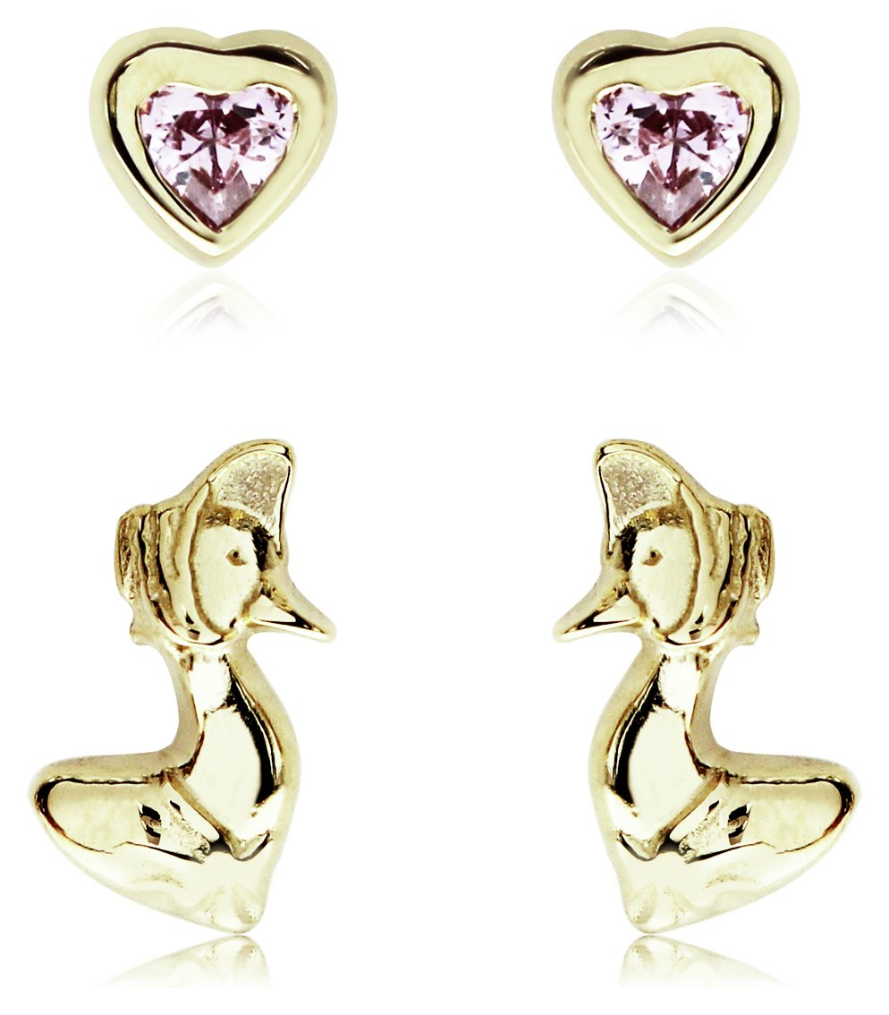 Beatrix Potter Gold Plated Jemima Puddle-Duck Studs Set of 2