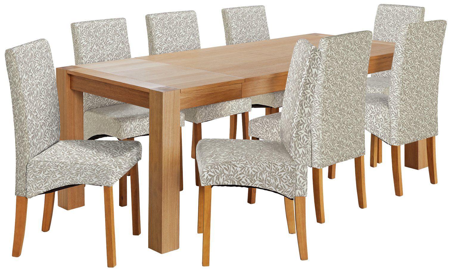 Argos Home Alston Oak Veneer Table & 8 Chairs - Floral