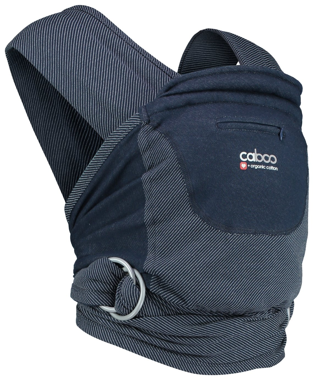 Caboo + Organic Stripe Newborn Baby Carrier - Midnight