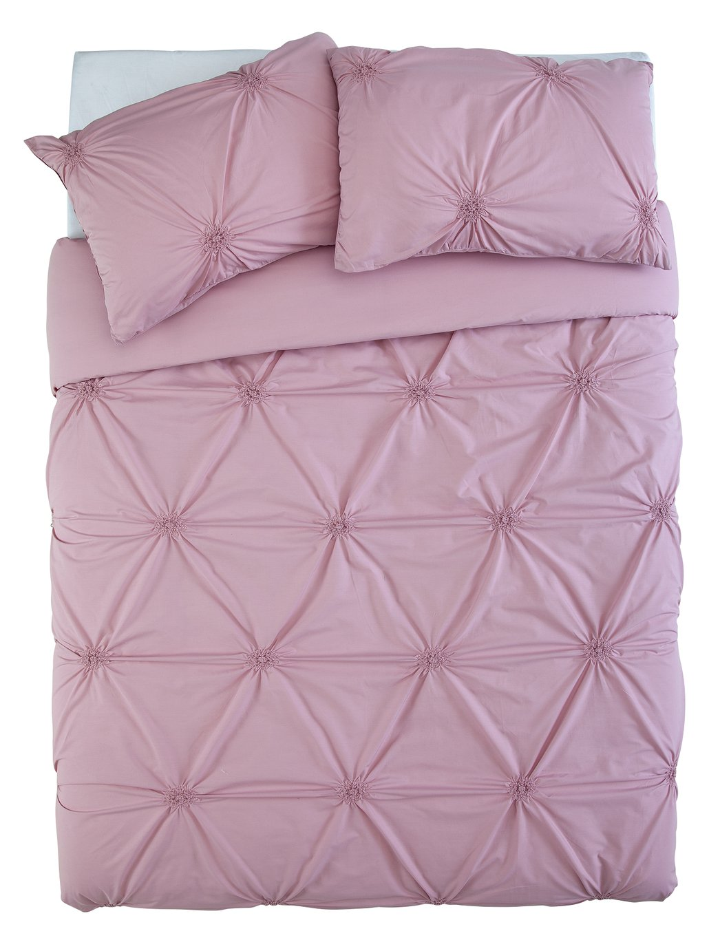 Sainsbury's Home Meadow Pink Ruched Bedding Set – Double