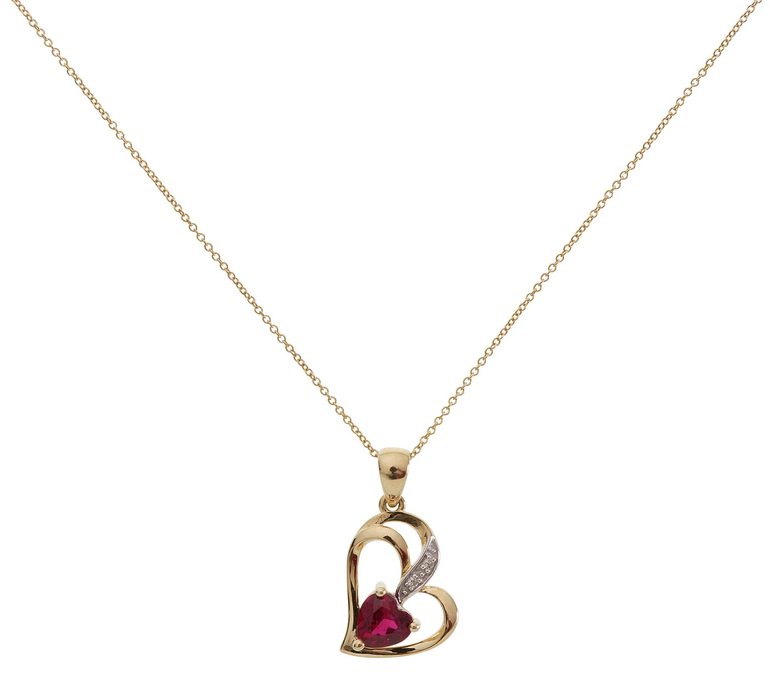 Revere 9ct Gold Ruby Diamond Accent Pendant 18 Inch Necklace