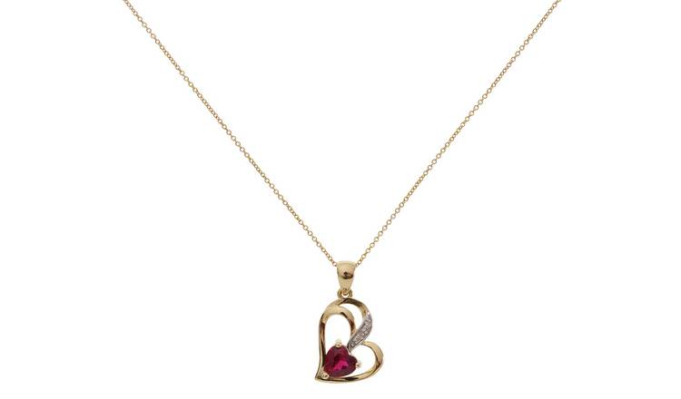 e438b4d956147 Buy Revere 9ct Gold Ruby Diamond Accent Pendant 18 Inch Necklace | Womens  necklaces | Argos