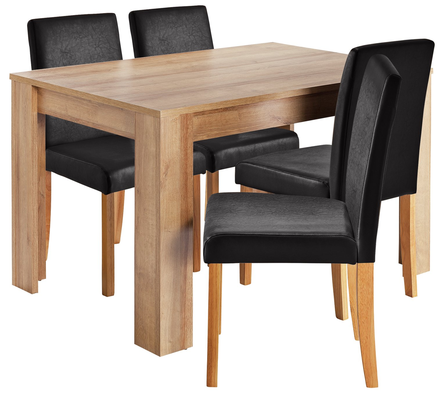 Image of HOME Miami Dining Table & 4 Chairs - Black