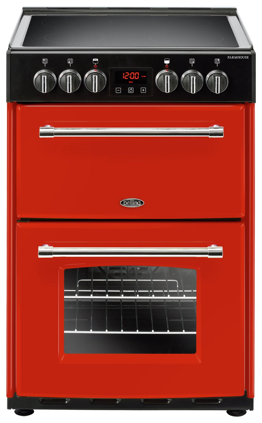 Belling Farmhouse 60E 60cm Double Oven Electric Cooker - Red