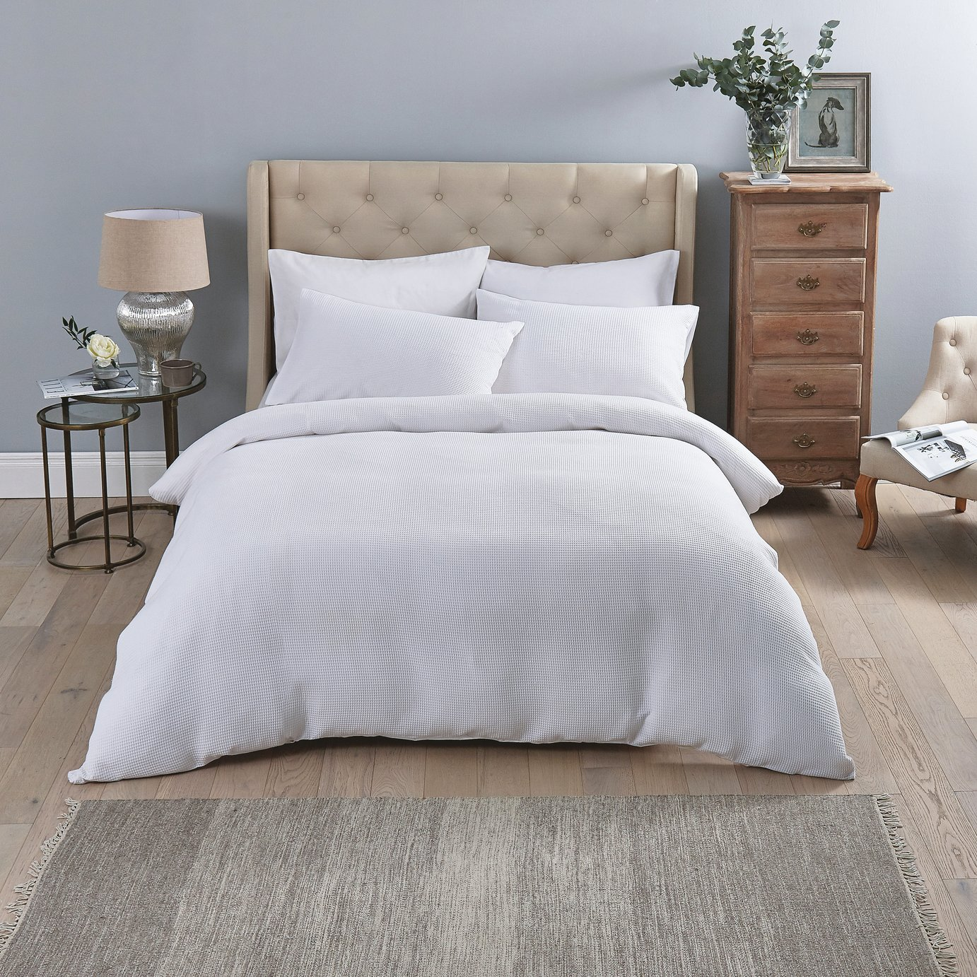 Sainsbury's Home Luxury White Waffle Bedding Set – Double