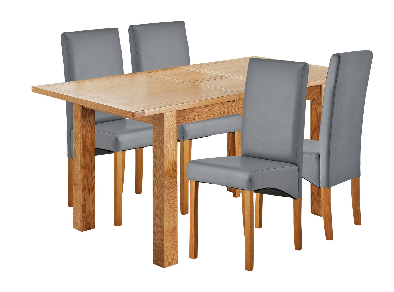 Image of Collection Ashwell Extendable Table & 4 Chairs - Grey