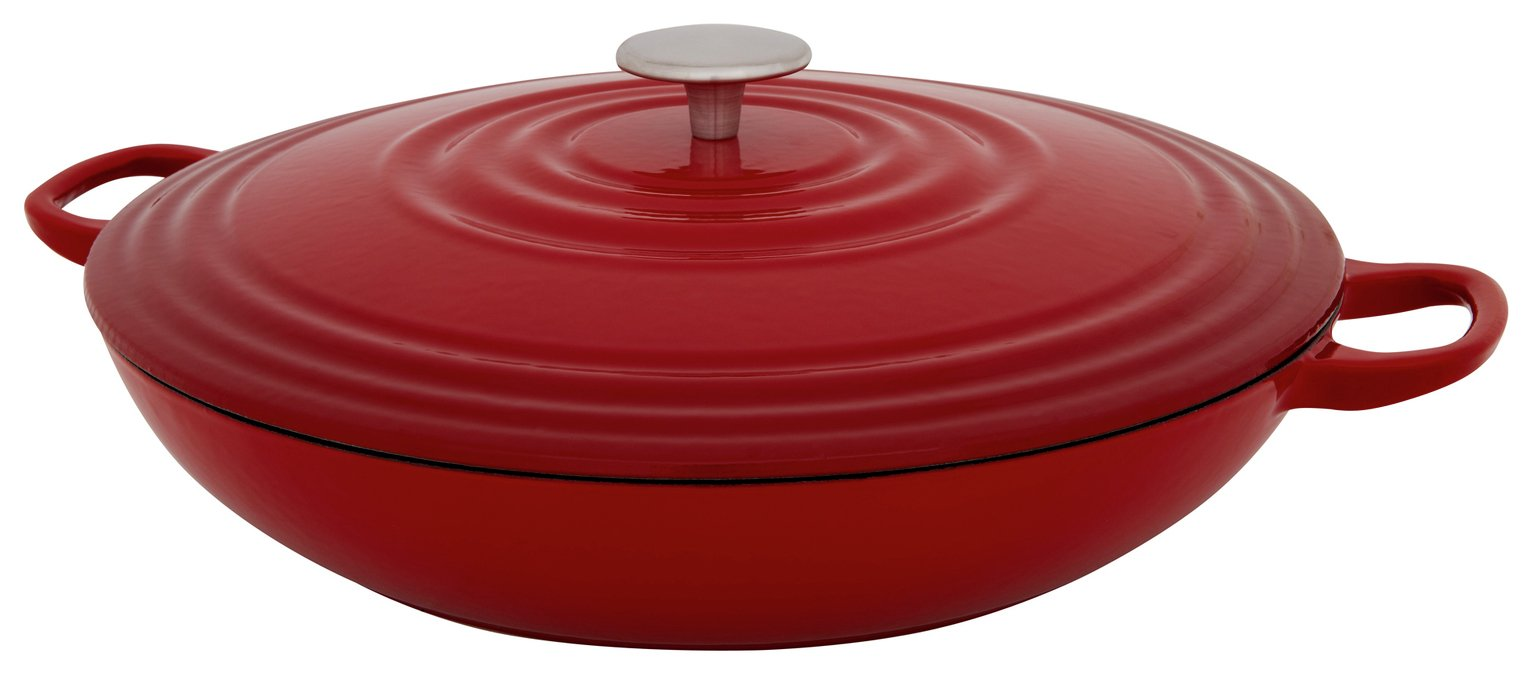 Sainsbury's Home 3 Litre Cast Iron Casserole Dish - Red