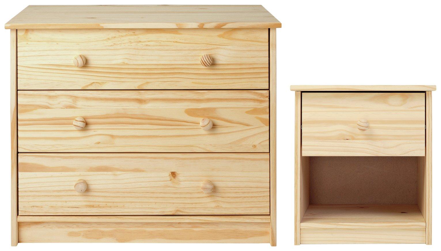 Image of HOME Jakob Bedside Chest & 3 Drawer Bedroom Package - Pine