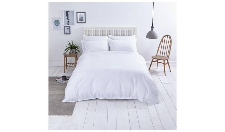 Sainsburys Home Washed Cotton White Bedding Set S King