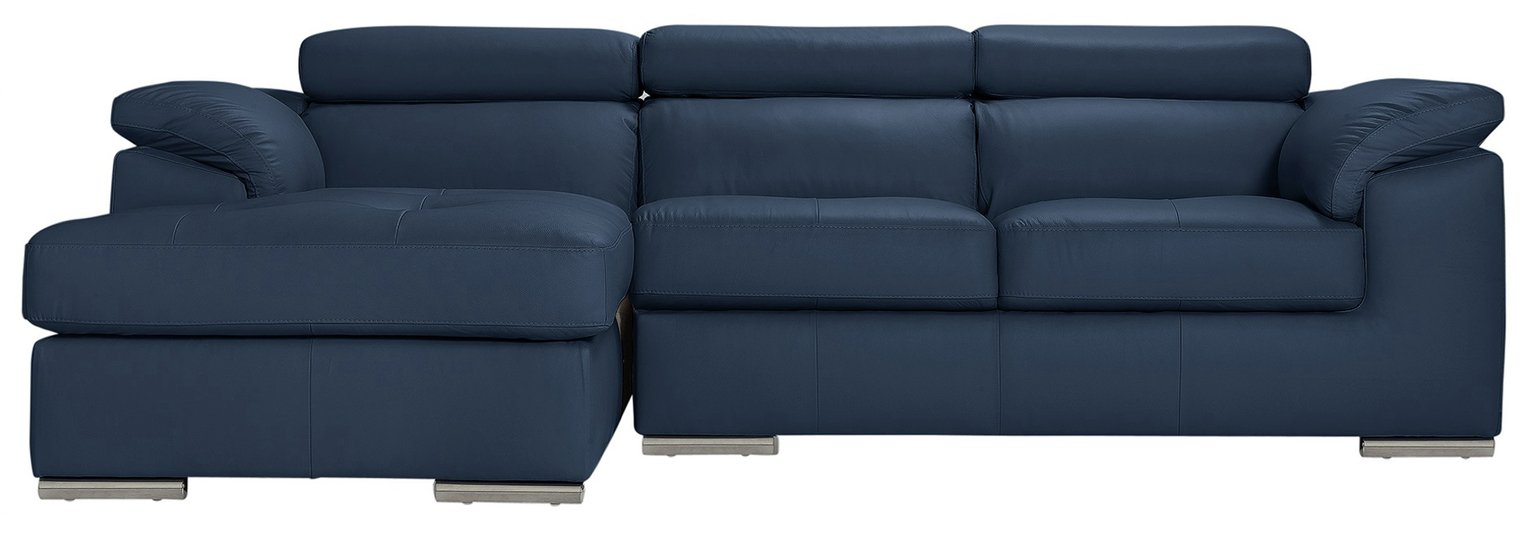 Argos Home Valencia Left Corner Leather Sofa - Blue