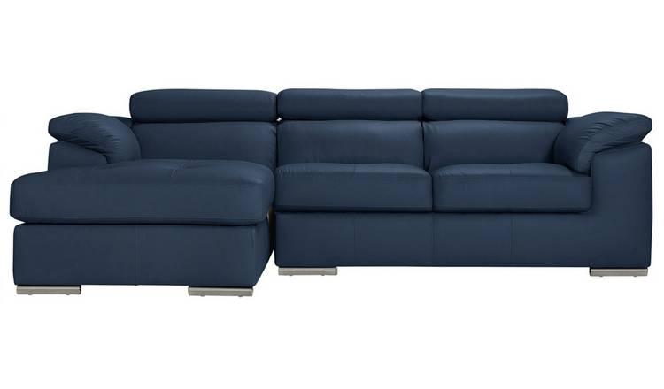 Buy Argos Home Valencia Left Corner Leather Sofa - Blue | Sofas ...