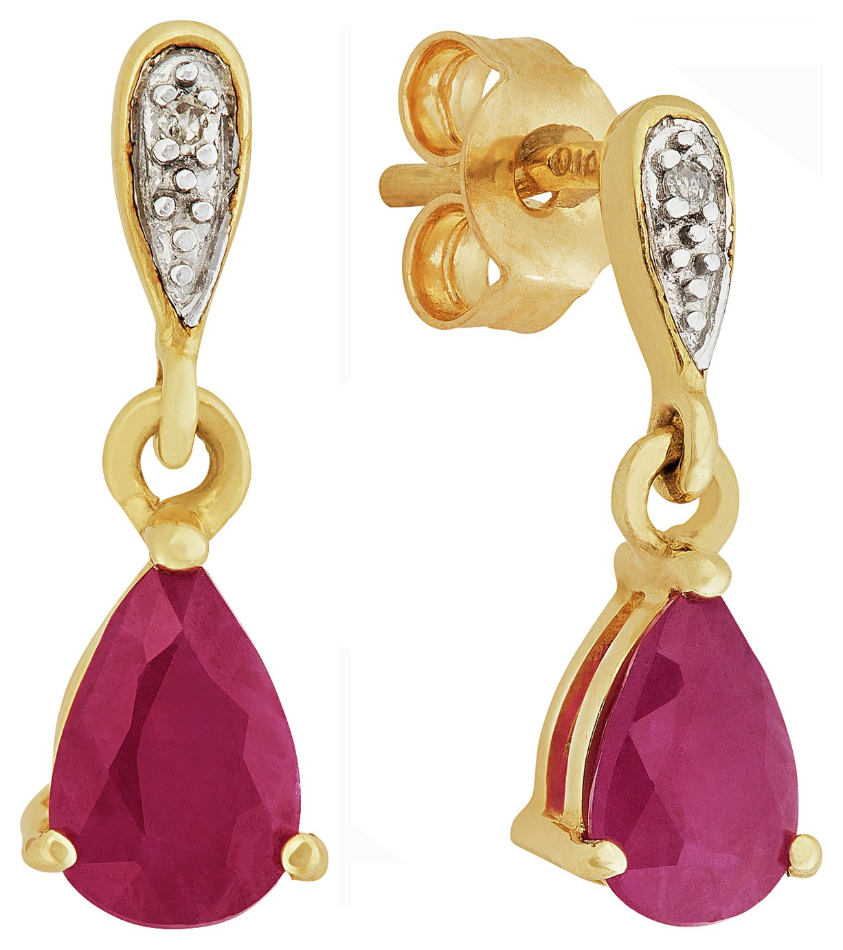 Revere 9ct Yellow Gold Pear Ruby and Diamond Accent Earrings