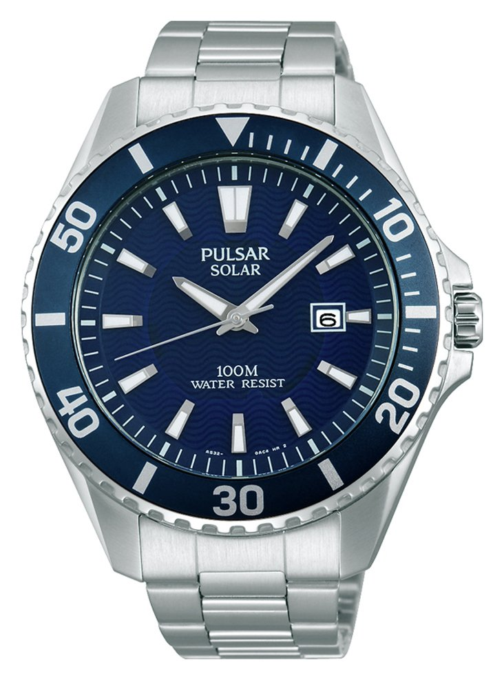 Pulsar Men's Diver Style Silver Stainless Steel Solar Watch