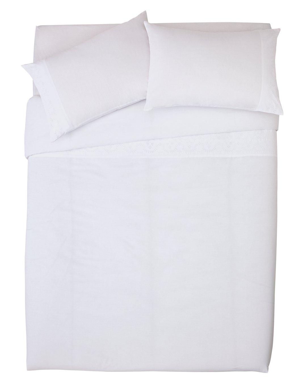 Argos Home White On White Embroidered Bedding Set   Double by Argos