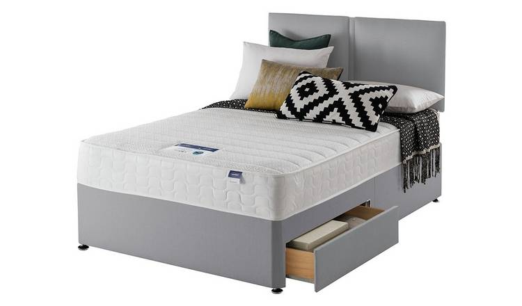 Silentnight Hatfield Memory 2 Drw Small Double Divan - Grey