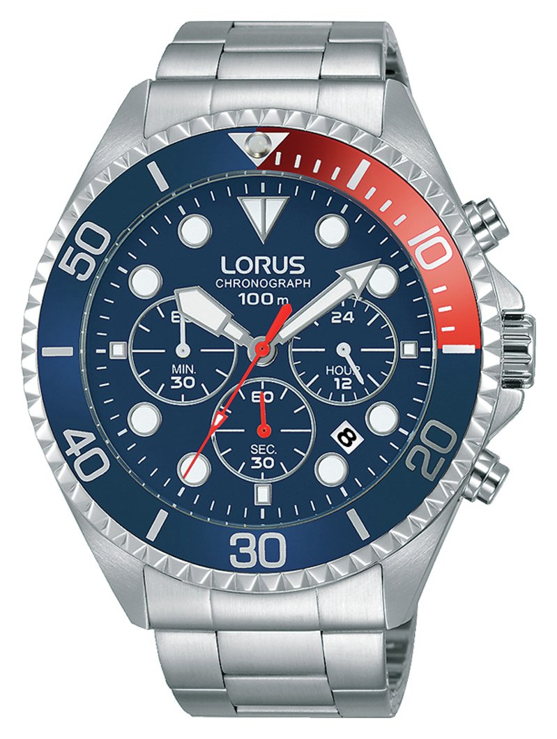 Lorus Men's RT317GX9 Blue and Red Sports Chronograph Watch