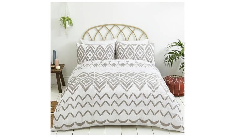 Sainsburys Home Boho Grey Seersucker Bedding Set S King