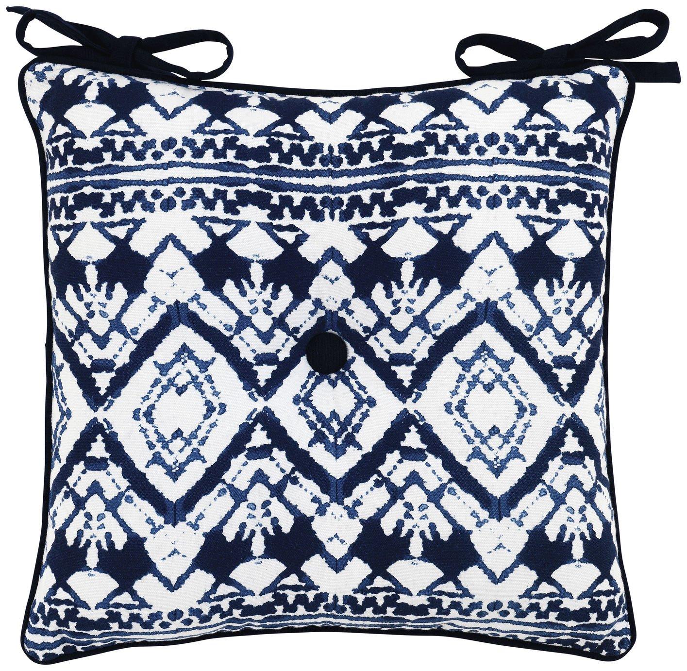 Image of Sainsbury's Home Shibori Seat Cushion - Blue
