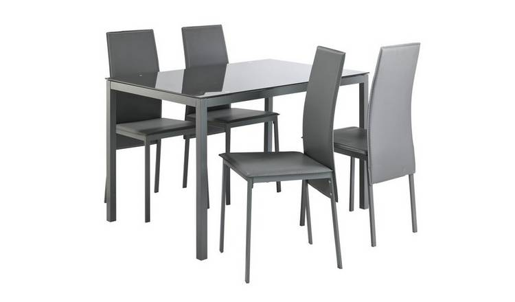 Buy Argos Home Lido Glass Table Amp 4 Chairs Grey Dining