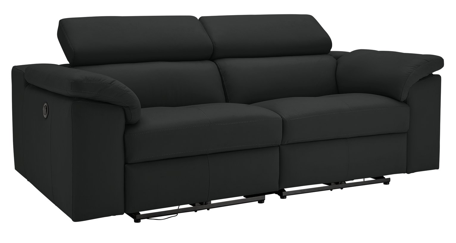 Buy Hygena Valencia 3 Seater Leather Power Recliner Sofa Black