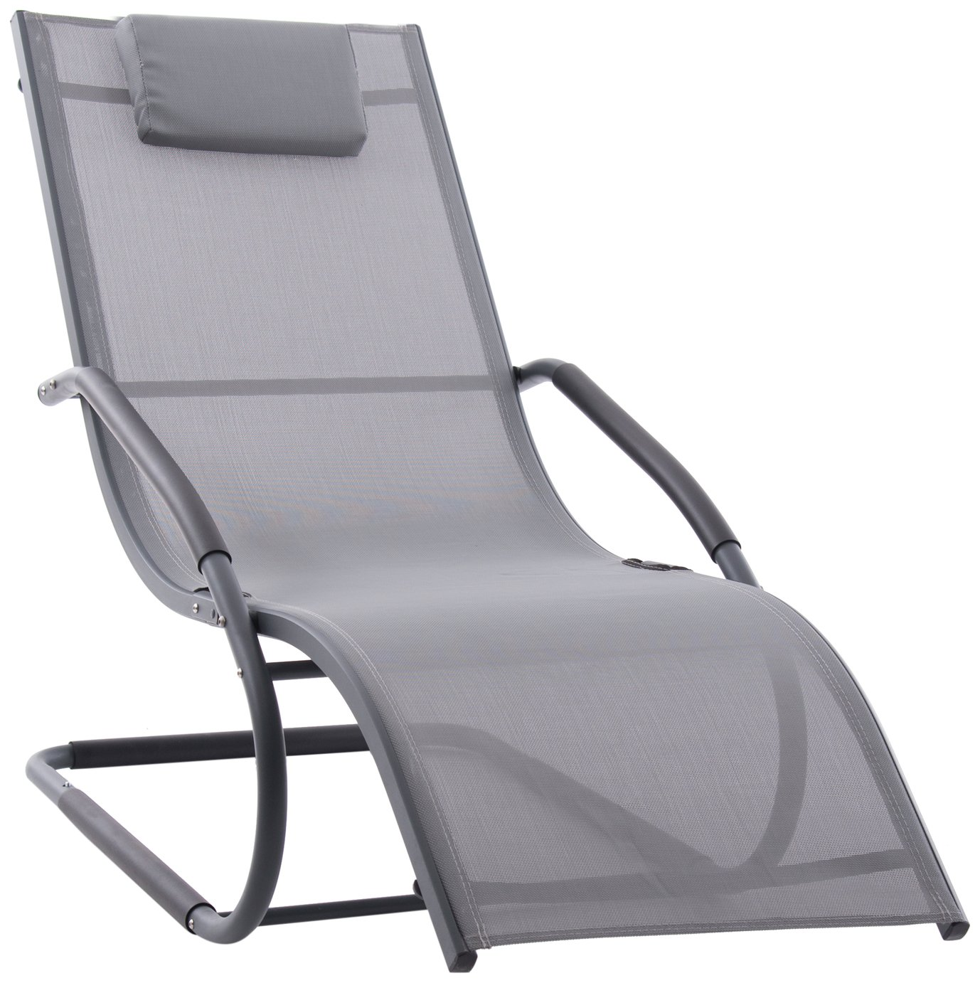 Vivere Wave Metal Sun Lounger - Grey on Matte Black Best Price, Cheapest Prices