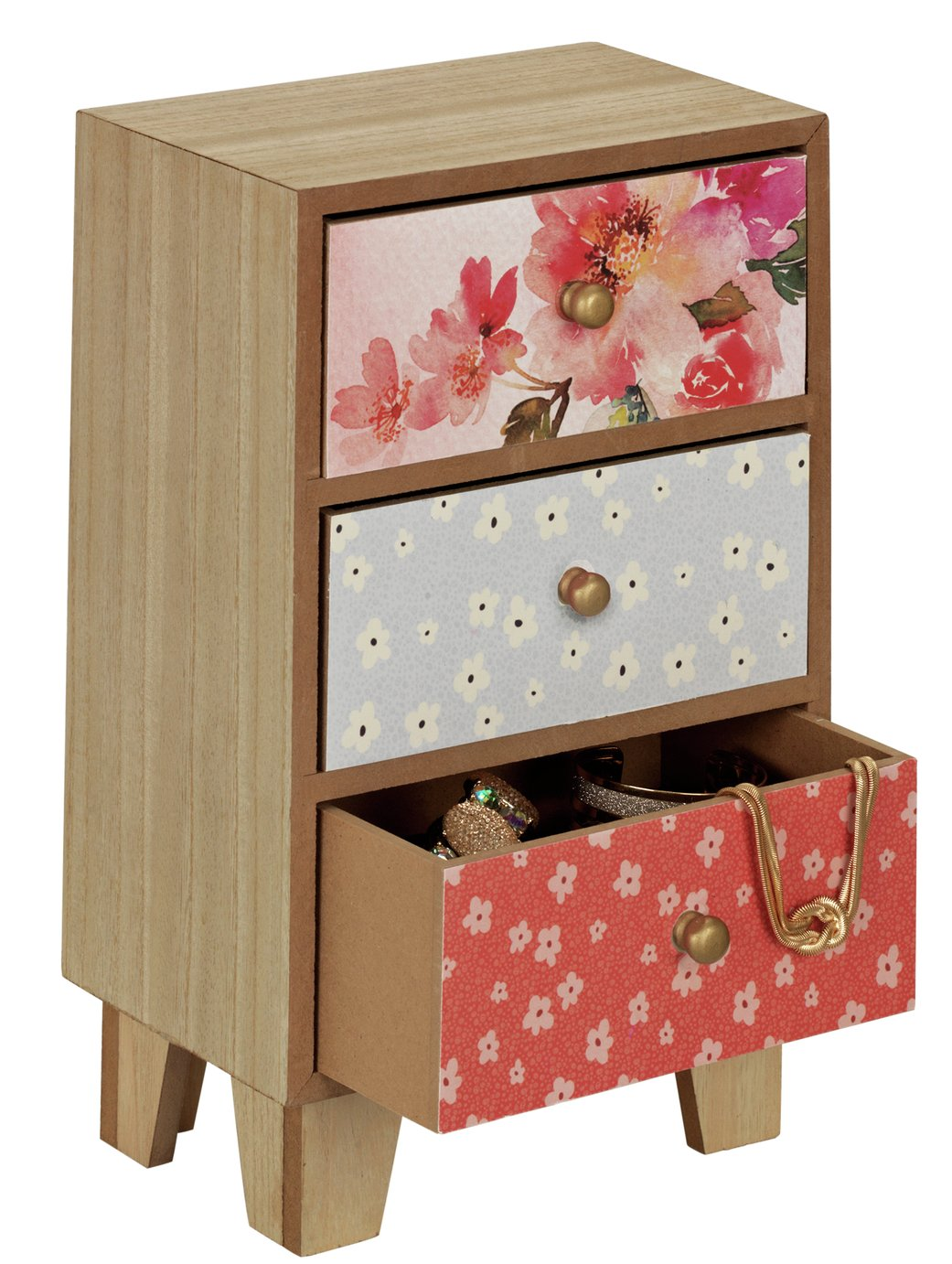 Vintage Boutique 3 Drawer Floral Storage Box