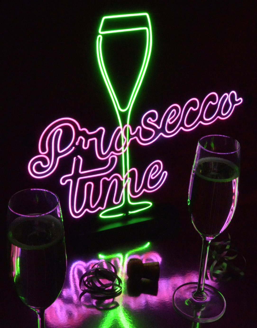 Light Up Prosecco Time Sign