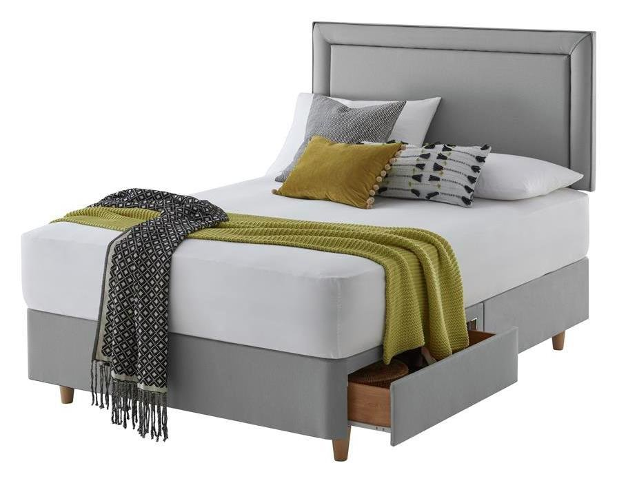 Silentnight Toulouse Grey Divan Bed - Superking
