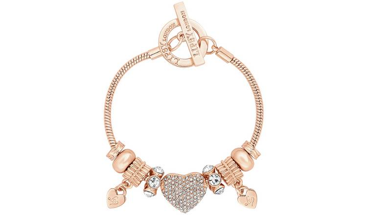 Lipsy Gold Colour Crystal Pave Heart Charm T-Bar Bracelet