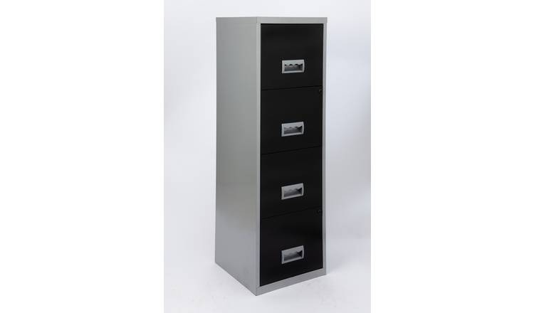 4 Drawer A4 Metal Filing Cabinet - Silver & Black