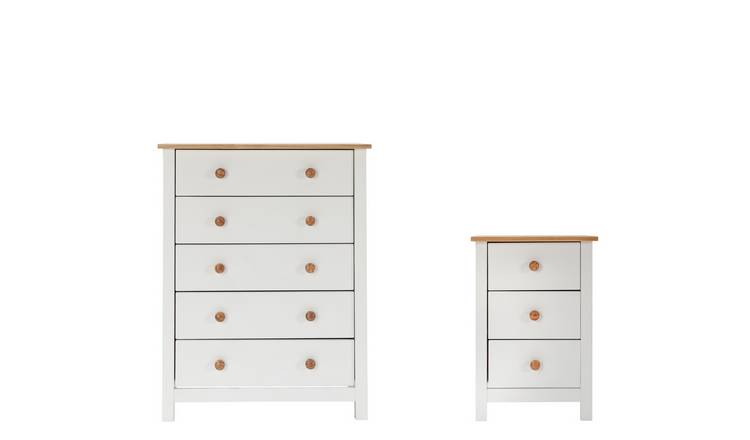 Argos Home Scandinavia Bedside Table & 5 Drawer Set-Two Tone