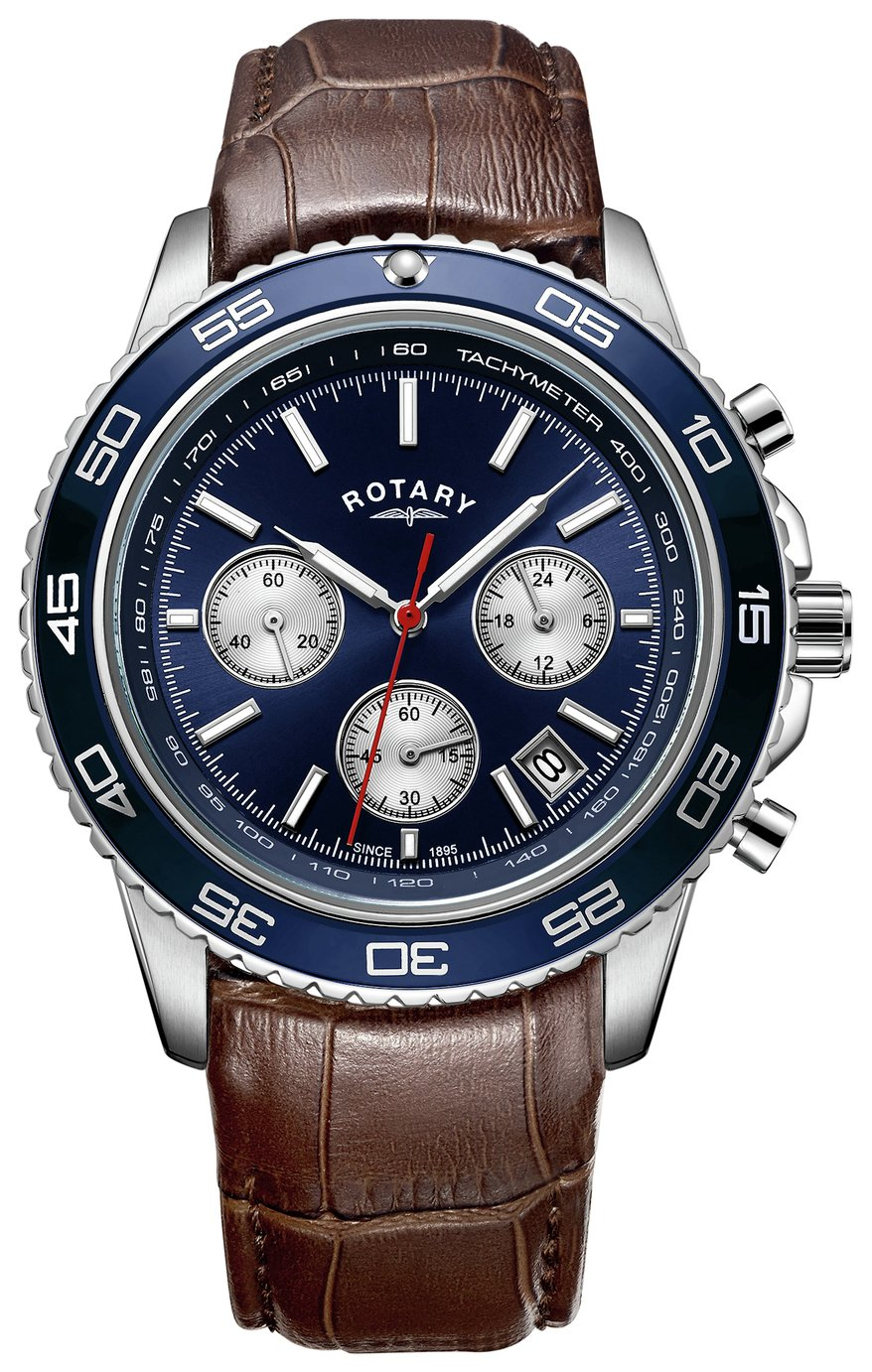 Rotary Men's Black Strap Blue Dial Chronograph Watch